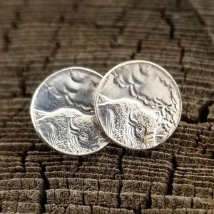 Silver Yellowstone National Park Coin Earrings